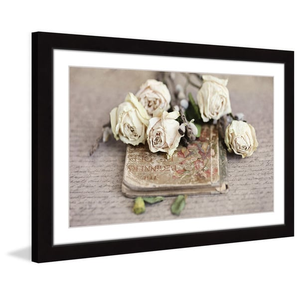 Marmont Hill - 'Vintage Book and Roses' by Sylvia Cook Framed Painting Print - Multi
