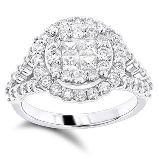 Luxurman 14K Gold Diamond Engagement Ring 2ct Princess Cut Round Diamonds (G-H; VS1-VS2)