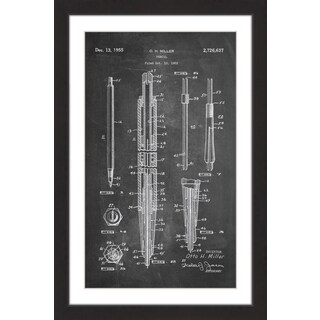 Marmont Hill - 'Pencil 1955 Blueprint' by Steve King Framed Painting Print