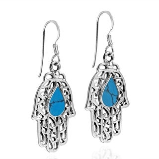 Handmade Hamsa Hand GemstonesTeardrop .925 Silver Dangle Earrings (Thailand)