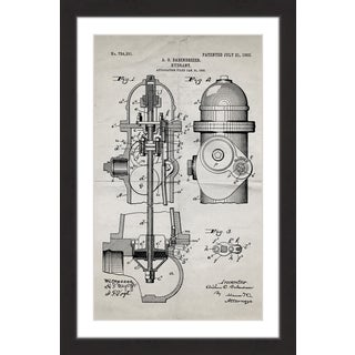 Marmont Hill - 'Hydrant 1903 Old Paper' by Steve King Framed Painting Print