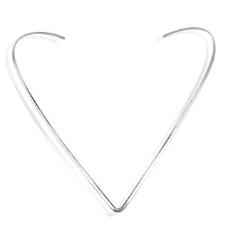 V Shape Plain .925 Sterling Silver Choker Necklace (Thailand)