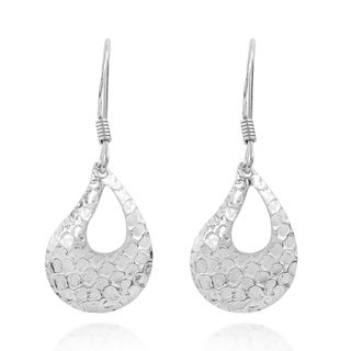 Modern Scale Textured Curved TearDrop .925 Silver Earrings (Thailand)