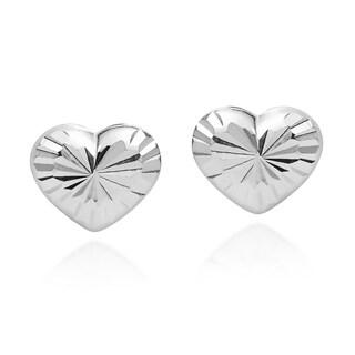 Handmade Classy Cute Heart .925 Sterling Silver Stud Earrings (Thailand)