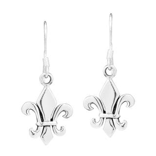 Handmade Cool Plain Fleur de Lis .925 Silver Dangle Earrings (Thailand)
