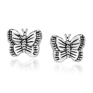 Cute and Adorable Butterfly .925 Silver Stud Earrings (Thailand)