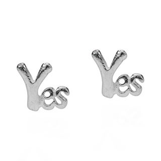 Cute Shiny YES .925 Silver Stud Earrings (Thailand)