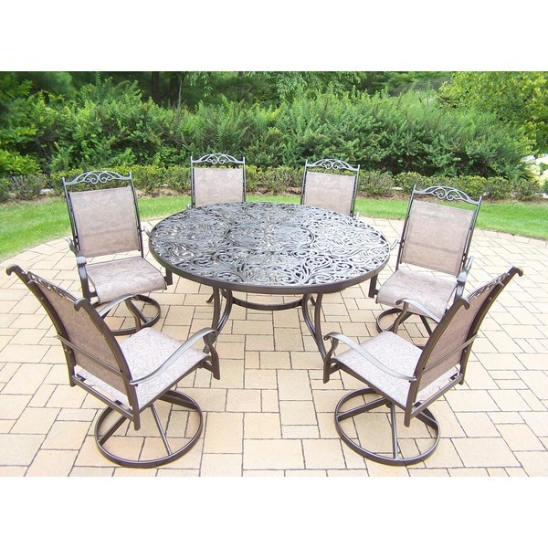 Aluminum 7 Piece Outdoor Patio Dining Set With 6 Swivel Rockers