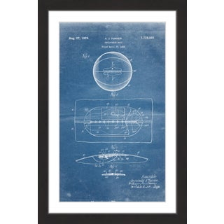 Marmont Hill - 'Basketball 1925 Blueprint' by Steve King Framed Painting Print