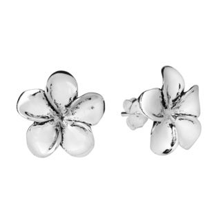Plumeria Flower 15mm Sterling Silver Stud Earrings (Thailand)