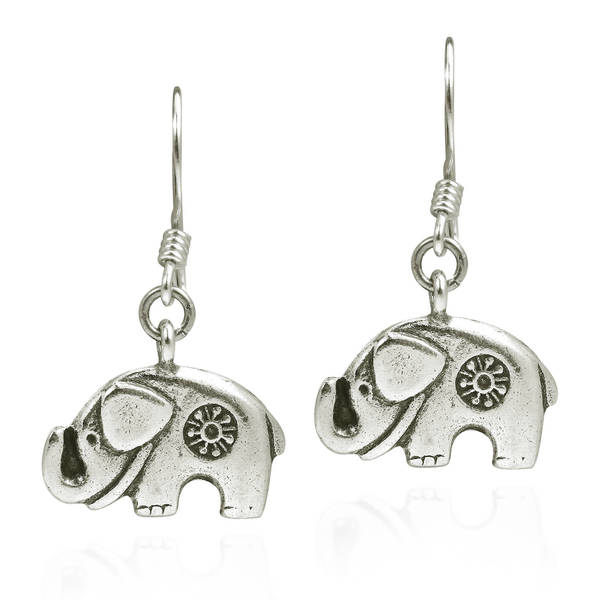 b0614ab69 Handmade Karen Hill Tribe Mountain Elephant Silver Dangle Earrings (Thailand )