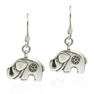 Karen Hill Tribe Mountain Elephant Silver Dangle Earrings (Thailand)