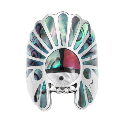 Handmade Native American Style Symbol Stones Sterling Silver Ring