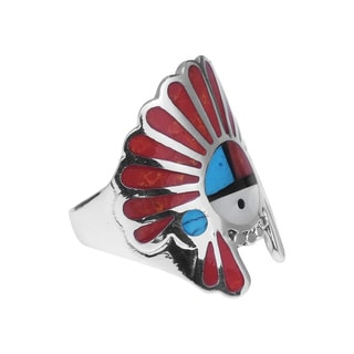 Native American Indian Symbol Stones .925 Silver Ring (Thailand)