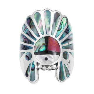 Handmade Native American Style Symbol Stones Sterling Silver Ring (More options available)