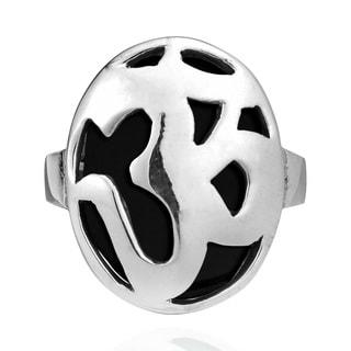 Handmade Aum Prayer Symbol Black Onyx .925 Sterling Silver Ring (Thailand)