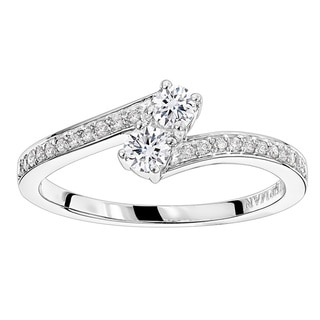 Luxurman Love and Friendship 14K Gold 2 Stone Diamond Ladies Ring by Luxurman 0.35ct (H-I; SI1-SI2)