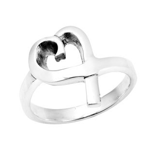 Modern Shiny Ribbon Loving Heart Sterling Silver Ring (Thailand)