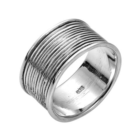 Handmade Textured Lines 10 mm Wide Band Sterling Silver Ring (Thailand)