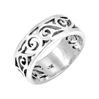 Everyday Soft Open Swirl Band Sterling Silver Ring (Thailand)