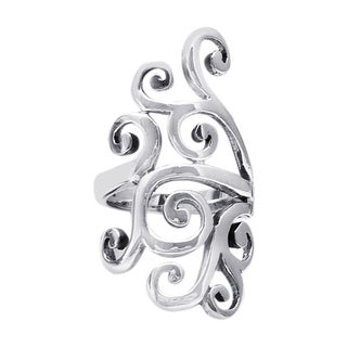 Statement Swirl Wide Span Sterling Silver Ring (Thailand)