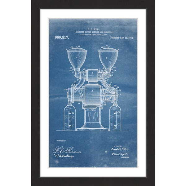 Marmont Hill - 'Coffee Grinder 1911 Blueprint' by Steve King Framed Painting Print - Multi 21022867