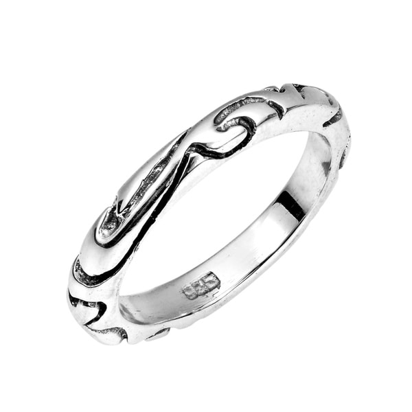 Handmade Half Round Carved Tattoo Band 925 Sterling Silver Ring