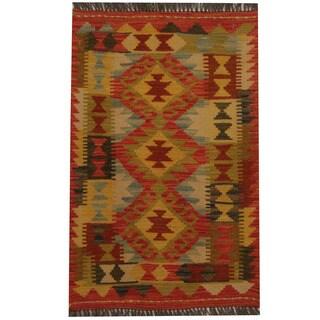 Herat Oriental Afghan Hand-woven Tribal Kilim (1'11 x 3')