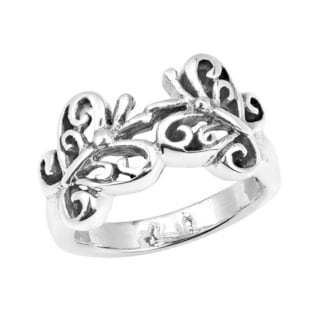 Cute Double Swirl Butterfly .925 Silver Ring (Thailand)