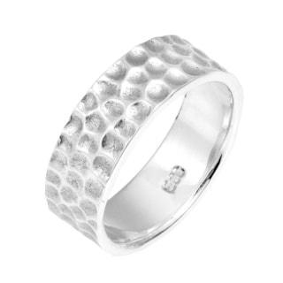 Handmade Textured Dots 6mm Band .925 Silver Ring (Thailand)