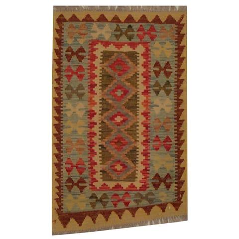 Handmade Herat Oriental Afghan Tribal Wool Kilim (Afghanistan) - 1'11 x 2'11