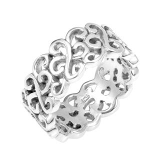 Interconnected Structured Swirl Twist Sterling Silver Ring (Thailand)