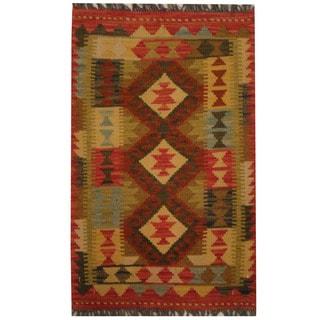 Herat Oriental Afghan Hand-woven Tribal Wool Kilim (1'10 x 3')