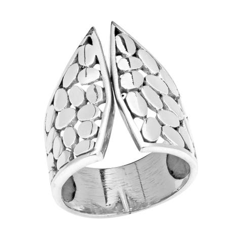 Handmade Open Front Oval Stone Pattern Sterling Silver Ring (Thailand)