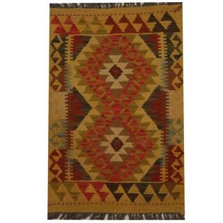 Herat Oriental Afghan Hand-woven Tribal Kilim (1'11 x 2'10)