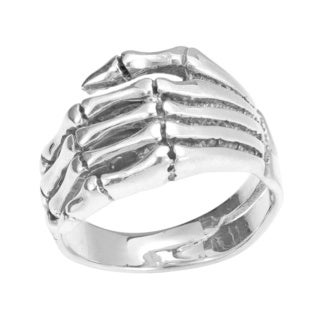 Left Hand Skeleton Wrapped .925 Silver Ring (Thailand)