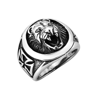 Roaring Lion Head and Iron Cross Sterling Silver Ring (Thailand)