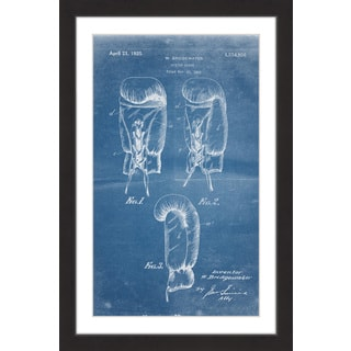 Marmont Hill - 'Boxing Gloves 1923 Blueprint' by Steve King Framed Painting Print