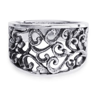 Handmade Intricate Vintage Inspiration Wide Swirl .925 Sterling Silver Ring (Thailand)
