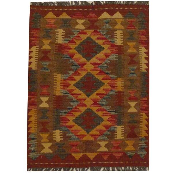 Herat Oriental Afghan Hand-woven Tribal Wool Kilim (2'2 x 2'9) - 2'2 x 2'9