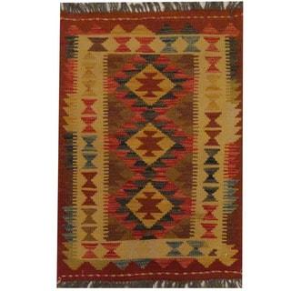 Herat Oriental Afghan Hand-woven Tribal Wool Kilim (2' x 2'10)
