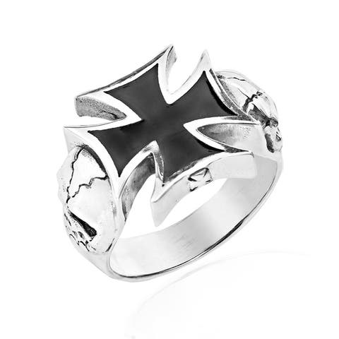 Handmade Black Iron Cross with Skull Sterling Silver Ring