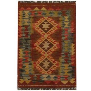 Herat Oriental Afghan Hand-woven Tribal Kilim (1'11 x 2')