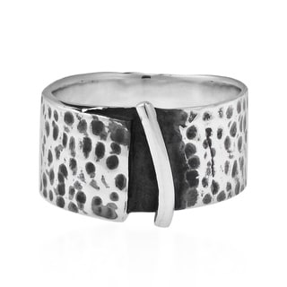 Modern Rugged Hammered 10mm Wide Band .925 Silver Ring (Thailand)