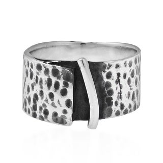 Handmade Modern Rugged Hammered 10mm Wide Band .925 Sterling Silver Ring (Thailand)