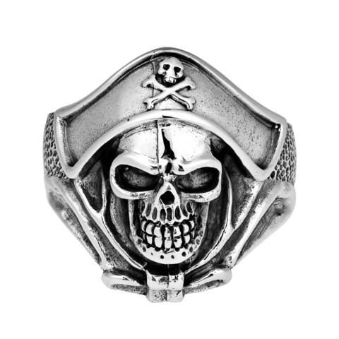 Handmade Buccaneer Pirate Skull Sterling Silver Ring (Thailand)
