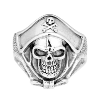 Buccaneer Pirate Skull Sterling Silver Ring (Thailand)