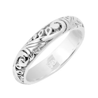 Handmade Swirl Harmony .925 Sterling Silver Band Ring (Thailand) (4 options available)