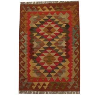 Herat Oriental Afghan Hand-woven Tribal Wool Kilim (2'1 x 3')