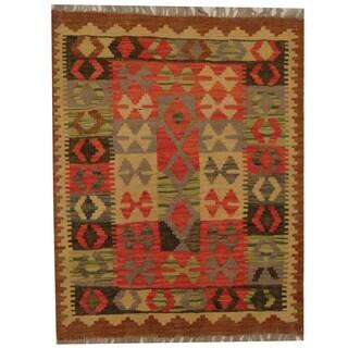 Herat Oriental Afghan Hand-woven Tribal Wool Kilim (2'4 x 2'11)